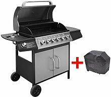 vidaXL Gasgrill Barbecue-Grill 6+1 Brenner Schwarz