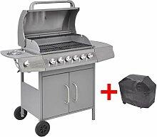 vidaXL Gasgrill Barbecue-Grill 6+1 Brenner Silber
