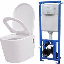 vidaXL Hänge-Toilette mit Einbau-Spülkasten Keramik Wand-Hänge-Toilette Weiß