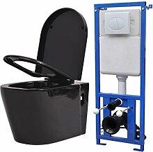 vidaXL Hänge-Toilette mit Einbau-Spülkasten Wand-Hänge-Toilette Keramik Schwarz