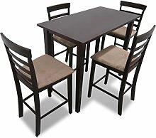 vidaXL Holz Essgruppe Sitzgruppe Bartisch Stehtisch Esstisch + 4 Barhocker Stuhl