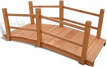 vidaXL Holzbrücke 140x60x56cm Teichbrücke
