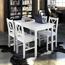 vidaXL Holztisch mit 4 Stühle Möbel Set Weiß