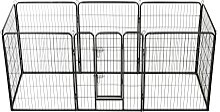 vidaXL Hunde-Laufgitter 8 Paneele Stahl 80 x 100