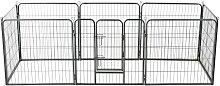 vidaXL Hunde-Laufgitter 8 Paneele Stahl 80 x 80 cm