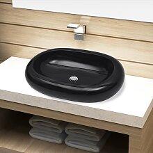 vidaXL Keramik Waschbecken schwarz oval