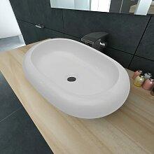 vidaXL Keramik Waschtisch Waschbecken Oval Weiß