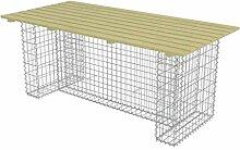 vidaXL Kiefer Gartentisch 180cm Gabionen Tisch