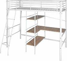 vidaXL Kinder Etagenbett Jugend Hochbett mit Schreibtisch Metall 200x90 cm Weiß/ Braun