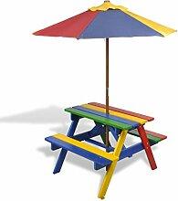 vidaXL Kinder Picknicktisch Sonnenschirm Picknick