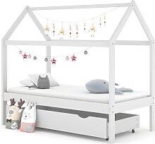 vidaXL Kinderbett mit Schublade Weiß Massivholz