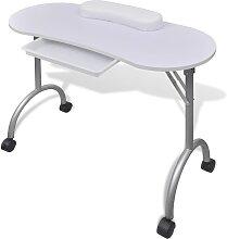 vidaXL Klappbarer Maniküre-Tisch mit Rollen Weiß