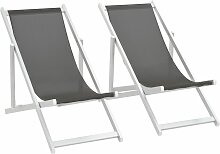 vidaXL Klappbarer Strandstuhl 2 Stk. Aluminium und