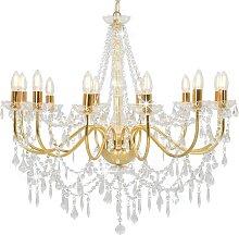 vidaXL Kronleuchter mit Perlen Golden 12 x