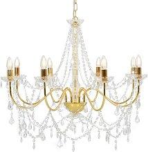 vidaXL Kronleuchter mit Perlen Golden 8 x