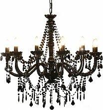 vidaXL Kronleuchter mit Perlen Schwarz 12 ×