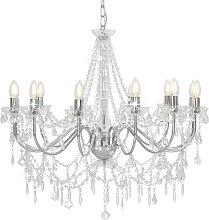 vidaXL Kronleuchter mit Perlen Silbern 12 x
