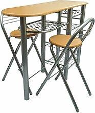 vidaXL Küchenbar mit 2 Stühlen