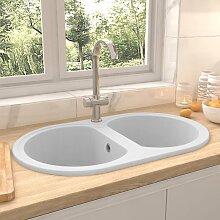 vidaXL Küchenspüle Doppelbecken Oval Weiß Granit