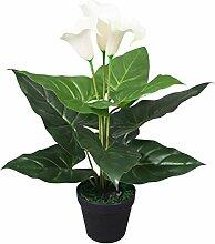 vidaXL Künstliche Calla-Lilie mit Topf 45cm Weiß