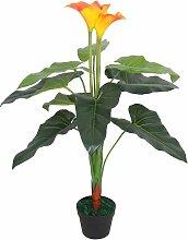 vidaXL Künstliche Calla-Lilie mit Topf 85 cm Rot