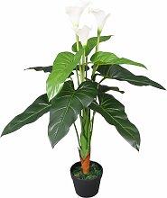 vidaXL Künstliche Calla-Lilie mit Topf 85 cm Weiß