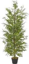 vidaXL Künstliche Pflanze Zypresse mit Topf Grün