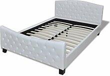vidaXL Kunstlederbett 180x200cm Weiß Doppelbett