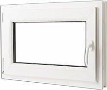 vidaXL Kunststofffenster Dreh/Kipp Garage Kellerfenster Griff rechts 80x60cm 2-Fach