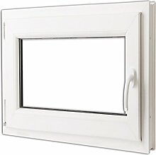 vidaXL Kunststofffenster Dreh/Kipp Garage Kellerfenster Griff rechts 80x70cm 2-Fach