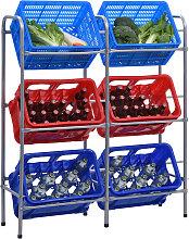 vidaXL Lagerregal für 6 Kisten Silbern 96 x 33 x