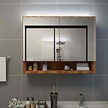 vidaXL LED-Bad-Spiegelschrank Eichefarben 80x15x60
