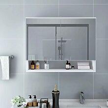 vidaXL LED-Bad-Spiegelschrank Weiß 80x15x60 cm MDF