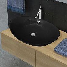 vidaXL Luxuriöses Keramik Waschbecken Oval Schwarz