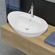 vidaXL Luxuriöses Keramik Waschbecken Oval +