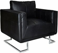vidaXL Luxus Armsessel Armsofa Sessel Relaxsessel Ledersofa Clubsessel Lounge Schwarz