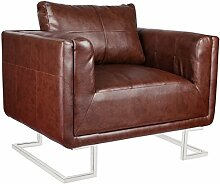vidaXL Luxus Ledermixstuhl Sofa Lounge Wohnzimmer Sessel Relaxsessel Couch Ledermixsessel