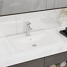 vidaXL Luxus Waschbecken Keramik Rechteckig Weiß