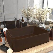 vidaXL Luxus-Waschbecken Matt Dunkelbraun 41x30x12