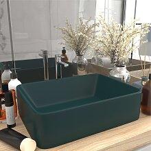 vidaXL Luxus-Waschbecken Matt Dunkelgrün 41x30x12