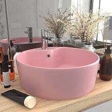 vidaXL Luxus-Waschbecken mit Überlauf Matt Rosa