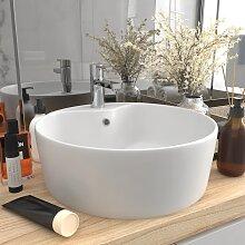 vidaXL Luxus-Waschbecken mit Überlauf Matt-Weiß