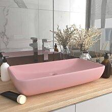 vidaXL Luxus-Waschbecken Rechteckig Matt Rosa