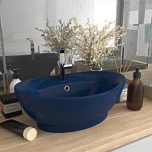 vidaXL Luxus-Waschbecken Überlauf Matt Dunkelblau