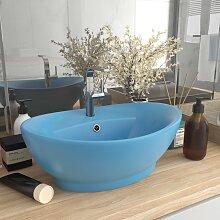 vidaXL Luxus-Waschbecken Überlauf Matt Hellblau