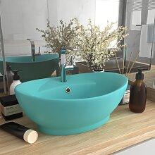 vidaXL Luxus-Waschbecken Überlauf Matt Hellgrün