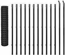 vidaXL Maschendrahtzaun Set 25x1,5m Stahl Grau