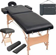 vidaXL Massageliege 2 Zonen Tragbar mit Hocker 10