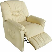 vidaXL Massagesessel Fernsehsessel Massage+Heizung Relaxsessel TV Sessel CRÈME