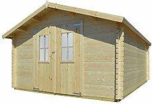 vidaXL Massivholz Gartenhaus 34mm 4x4m Blockhaus